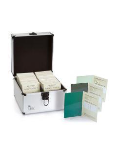 RAL 841-GL Farbregister, geöffneter Koffer mit 3 Farbregisterkarten