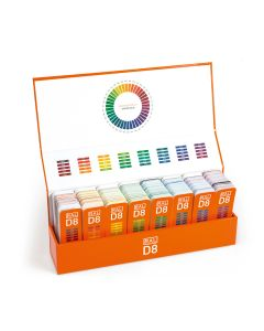 RAL D8 Gestaltungsbox, geöffnet mit acht Farbfächern